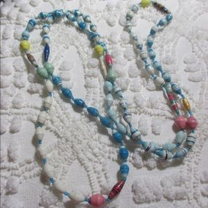 """Jewelry - Handcrafted Paper Bead African Necklace 50"""" Long"""